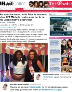 Daily Mail coverage of Michelle's shower