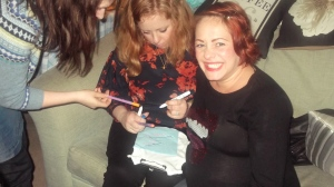 Sarah Cawood and guests get down to some babygro decorating at her Little Boy Blue baby shower last Sunday, hosted by Before Baby